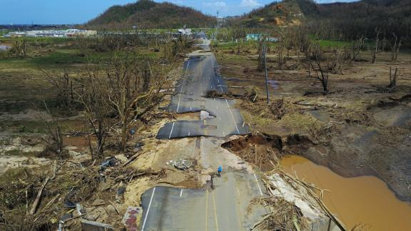 """The hurricane made its first landfall on the Caribbean island nation of Dominica on Monday, September 18, as a Category 5 storm with winds topping 160 mph - the strongest hurricane on record to make landfall there. Days later, <a href=""""http://www.cnn.com/specials/weather/hurricane-maria"""">the storm devastated the US territory of Puerto Rico</a>, leaving nearly the entire population in the dark."""