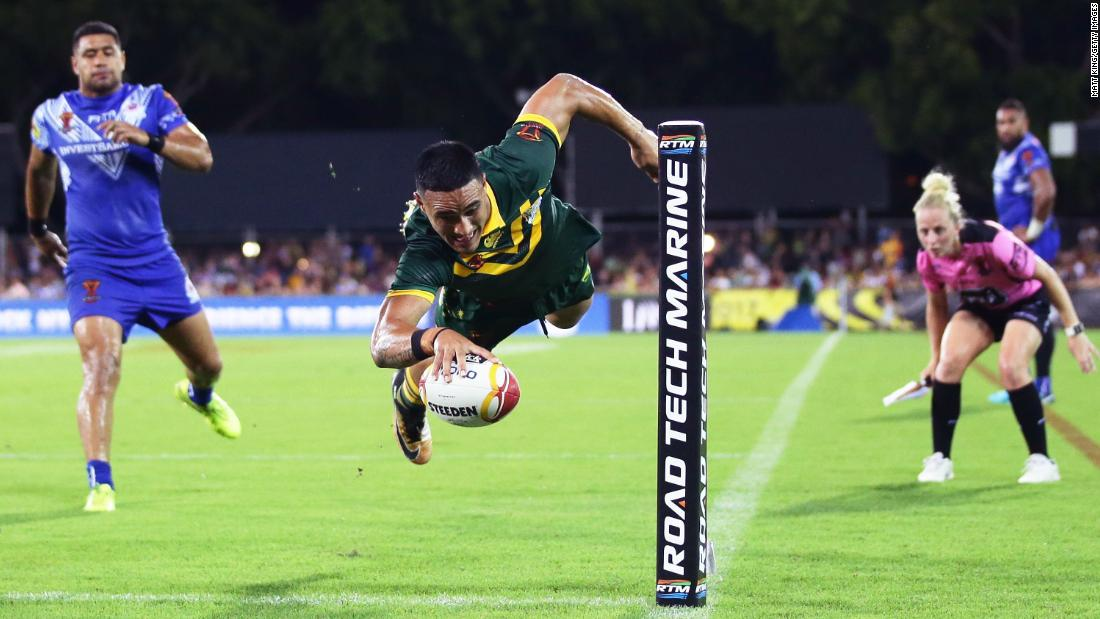 Australia's Valentine Holmes scores a try during a Rugby League World Cup quarterfinal on Friday, November 17. Australia defeated Samoa 46-0.