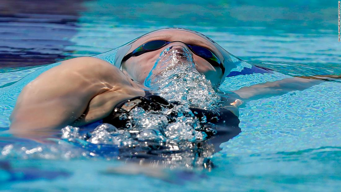 Venezuela's Carla Gonzalez swims the 100-meter backstroke during the Bolivarian Games on Monday, November 20.