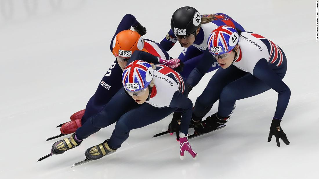 Short-track speedskaters compete in a 1,000-meter race at a World Cup event in Seoul, South Korea, on Sunday, November 19.