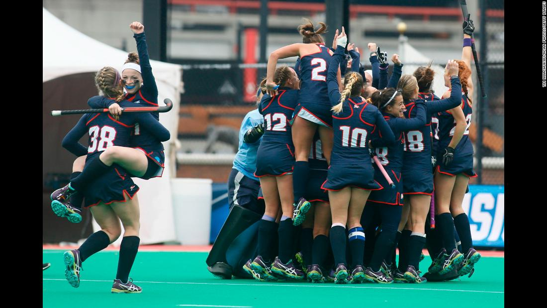 Field hockey players from Shippensburg University celebrate after winning the Division II title on Sunday, November 19. It is their second national title in a row and their third in the last five years.
