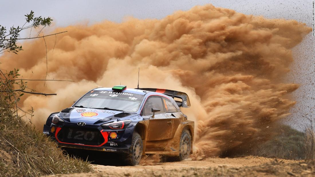 Hayden Paddon powers through a corner Friday, November 17, on the first day of the World Rally Championship event in Australia. Paddon finished the race in third.