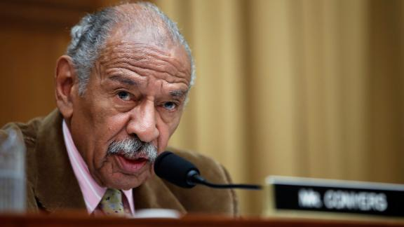 FILE- In this April 4, 2017, file photo, Rep. John Conyers, D-Mich., speaks during a hearing of the House Judiciary subcommittee on Capitol Hill in Washington. Buzzfeed, a news website, is reporting that Conyers settled a complaint in 2015 from a woman who alleged she was fired from his Washington staff because she rejected his sexual advances. Calls to Conyers and his office seeking comment were not immediately returned Monday, Nov. 20. (AP Photo/Alex Brandon, File)