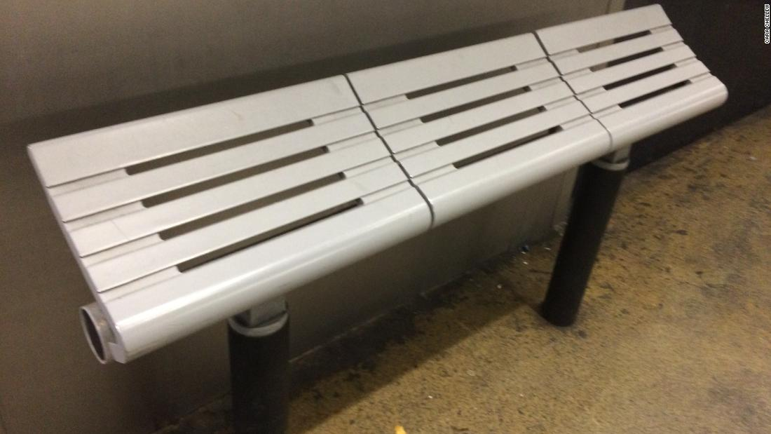 "Photo of a sloped bench design captured by Cara Chellew, a Toronto-based researcher who focuses on the design, regulation and politics of public spaces. She compiles photographs of defensive architecture on her website <a href=""https://www.defensiveto.com"" target=""_blank"">#defensiveTO</a>."