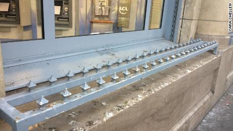 Anti-loitering spikes on a window edge in Paris, France.