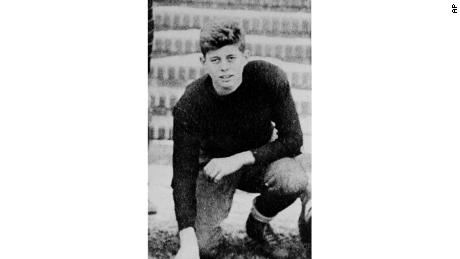 John F. Kennedy at age 16, when he played football for the Choate School in Wallingford, Connecticut, 1933.