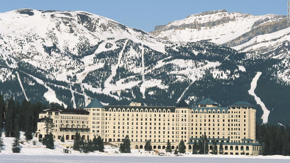 The famous old hotel lies across the valley from the ski area.