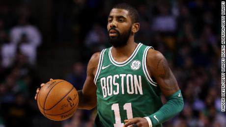 BOSTON, MA - NOVEMBER 16: Kyrie Irving #11 of the Boston Celtics dribbles against the Golden State Warriors during the fourth quarter at TD Garden on November 16, 2017 in Boston, Massachusetts. The Celtics defeat the Warriors 92-88. (Photo by Maddie Meyer/Getty Images)