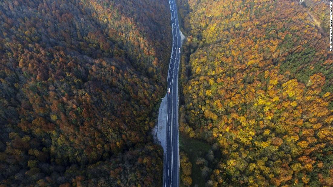 <strong>Duzce, Turkey:</strong> An aerial shot shows November's autumnal colors in the Duzce region of Turkey. <br />