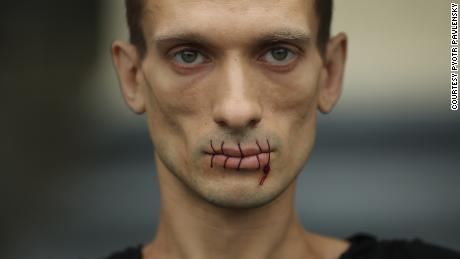 Pavlensky is know for his performance art, including sewing his lips shut to protest Pussy Riot's detention.