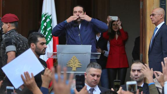 Lebanese Prime Minister Saad Hariri greets his supporters in Beirut on Wednesday.