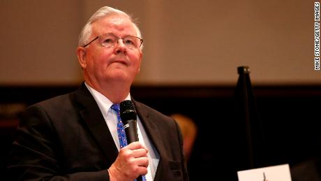 MANSFIELD, TX - APRIL 13: Rep. Joe Barton (R-TX) answers a question during a town hall meeting at Mansfield City Hall on April 13, 2017 in Mansfield, Texas. A capacity crowd filled the Mansfield City Hall counsel chambers where attendees expressed disapproval with the Republican's handling of health care, term limits and the failure of Donald Trump to release his taxes. (Photo by Mike Stone/Getty Images)