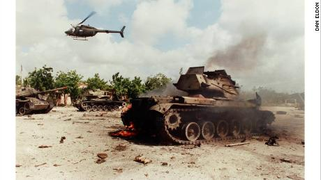 Eldon took this photo of the husk of a burned out tank in June 1993 in Mogadishu.