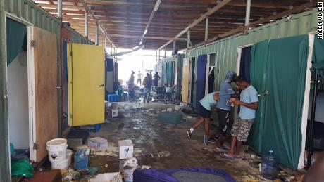 Refugees, photographed on November 23, who have remained at the Manus island refugee camp following its closure on  October 31, 2017.