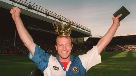 14 MAY 1994:  BLACKBURN ROVERS STRIKER ALAN SHEARER CELEBRATES AFTER HIS TEAM CLINCHED THE LEAGUE TITLE AFTER THEIR GAME AGAINST LIVERPOOL AT ANFIELD IN LIVERPOOL.