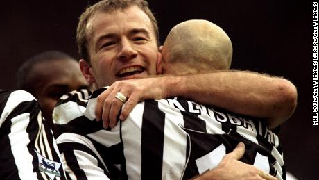 30 Jan 1999:  Alan Shearer of Newcastle United celebrates his goal with team mate Temuri Ketsbaia during the FA Carling Premiership match against Aston Villa at St James Park in Newcastle, England. Newcastle won 2-1. \ Mandatory Credit: Phil Cole /Allsport