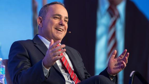 Yuval Steinitz, Israel's Minister of Energy and water resources, speaks at a conference in Texas, in the United States, in 2016.