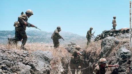 Israeli soldiers are seen in a trench during the 1967 Six-Day War.