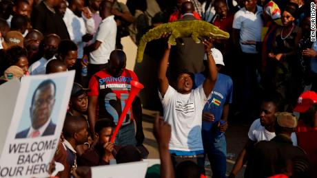 "A supporter holds up a toy to welcome Emmerson Mnangagwa, known as ""The Crocodile,"" back to the country on Wednesday in Harare."
