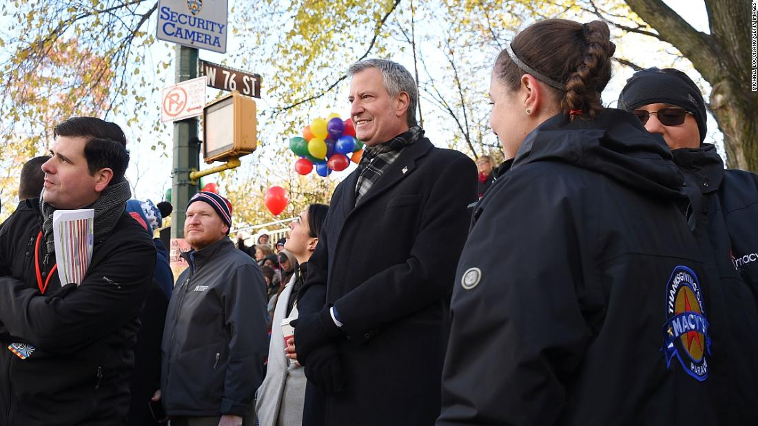 New York City Mayor Bill de Blasio attends the festivities.