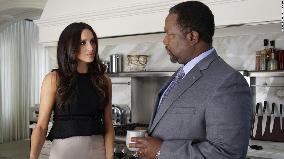 "Markle appears in the TV series ""Suits"" with her on-screen father, played by actor Wendell Pierce."