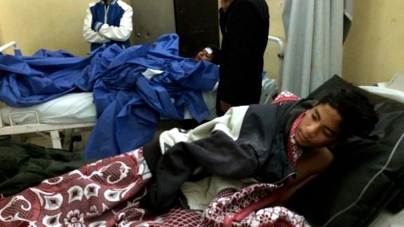 A teenage survivor of the attack is treated Friday at a hospital in Ismailia.