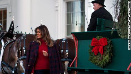 first lady melania trump arrives to receive a christmas tree during an event at the white - The White House Christmas Decorations 2017