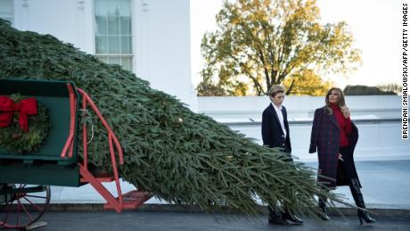 first lady melania trump and barron trump arrive to receive a christmas tree on november 20