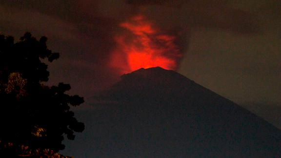 A view of Mount Agung Volcano Erupted in the morning from Amed Beach.