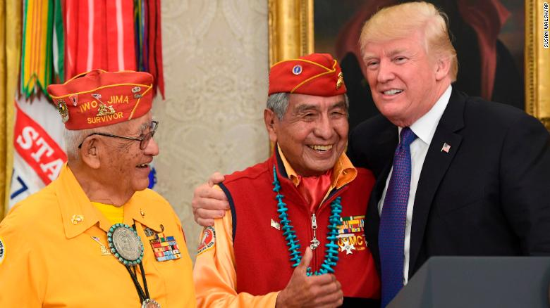 Trump makes Pocahontas crack to code talkers