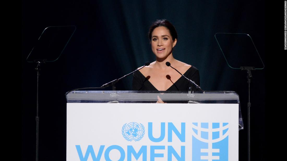 "Markle addresses a United Nations conference on International Women's Day in March 2015. ""I'm proud to be a woman and a feminist,"" said Markle, who was named the UN Women's Advocate for Political Participation and Leadership."