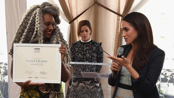 Markle and Crystal Valentine speak during Glamour's College Women of the Year Awards in April 2016.