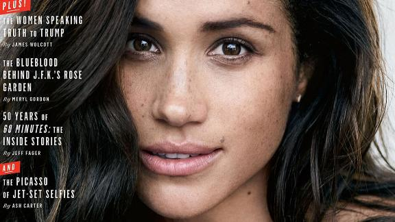 Markle appears on the cover of Vanity Fair in September 2017. In an accompanying interview, Markle first spoke publicly about her relationship with Prince Harry.