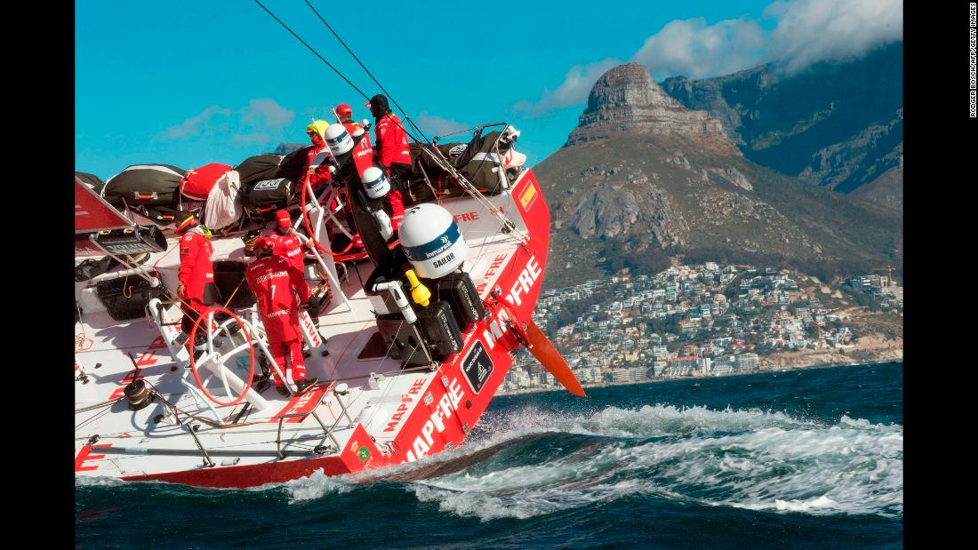 The Spanish sailing team Mapfre arrives in South Africa's Table Bay to win the second leg of the Volvo Ocean Race on Friday, November 24. The leg started in Lisbon, Portugal.