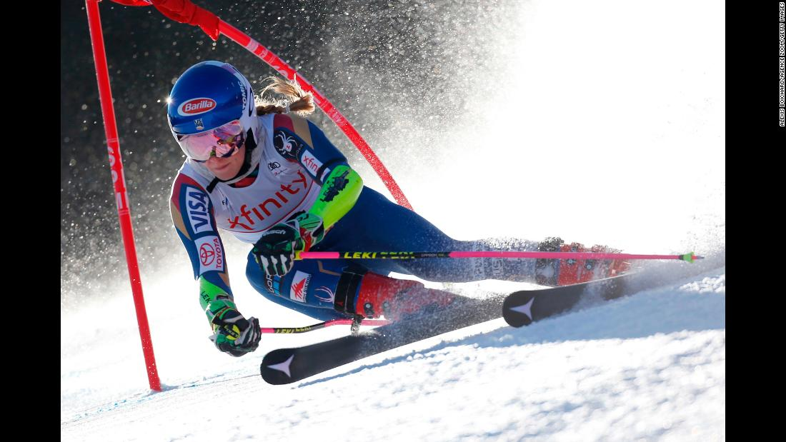 "American skier Mikaela Shiffrin competes in <a href=""http://www.cnn.com/2017/11/26/sport/world-cup-skiing-lake-louise-canada-men/index.html"" target=""_blank"">a World Cup competition</a> in Killington, Vermont, on Saturday, November 25. Shiffrin won the slalom and finished second in the giant slalom."