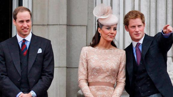 Harry joins Prince William and Catherine, the Duchess of Cambridge, on the balcony of Buckingham Palace in 2012.