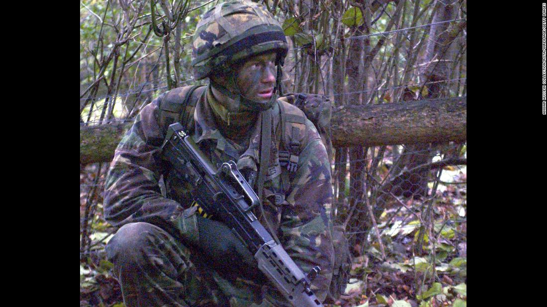 Harry takes part in military training in 2005. In February 2008, the British Ministry of Defense announced that Harry had secretly been serving in Afghanistan with his Army unit on a four-month mission. The next day, he was withdrawn for security reasons.