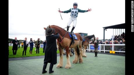 Frost celebrates on board Stobillee Sirocco after winning the Exeter Racecourse Clydesdale Stakes at Exeter Racecourse last year.