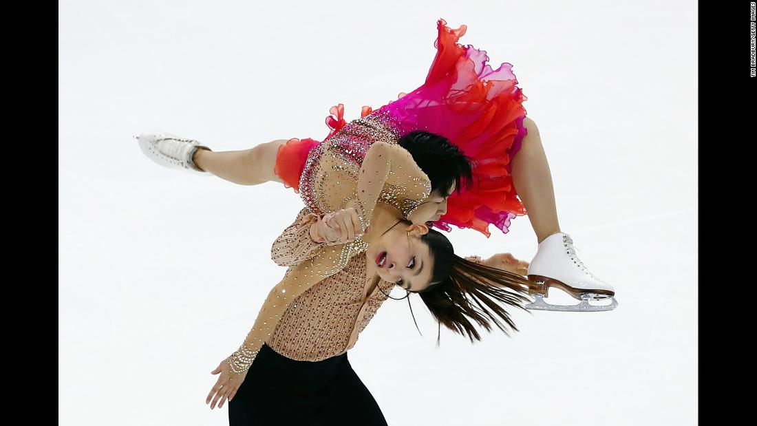 American ice dancers Maia and Alex Shibutani compete during Skate America, a Grand Prix event in Lake Placid, New York, on Saturday, November 25. The siblings finished in first place.