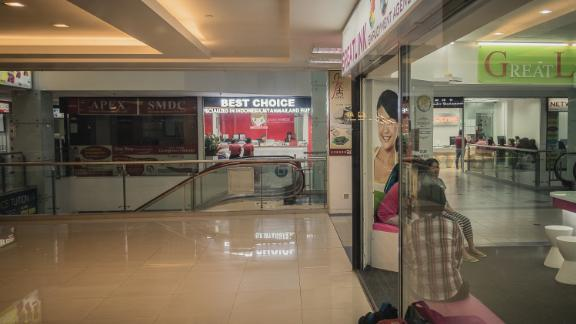 Maid agencies in a shopping center in Singapore