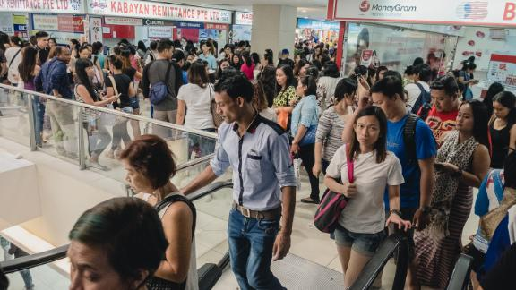 Remittance companies in Singapore's Lucky Plaza mall, a place popular with Filipino domestic workers for its restaurants and companies offering remittance services.