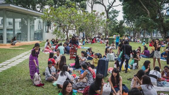 Domestic workers picnic in a park in Singapore March 19, 2017.