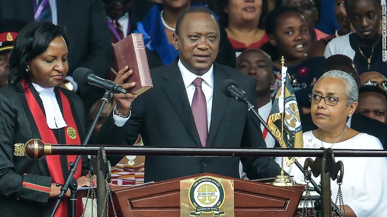 Kenya's President Uhuru Kenyatta takes oath of office during his inauguration ceremony on November 28, 2017 in Nairobi.