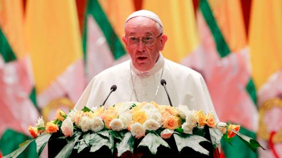 Pope Francis, delivers a speech at a meeting of the Myanmar Government Official and Myanmar Catholic Devotees at the Myanmar International Convention Center in Naypyitaw, Myanmar, Tuesday, Nov.28, 2017. (AP Photo/Aung Shine Oo)