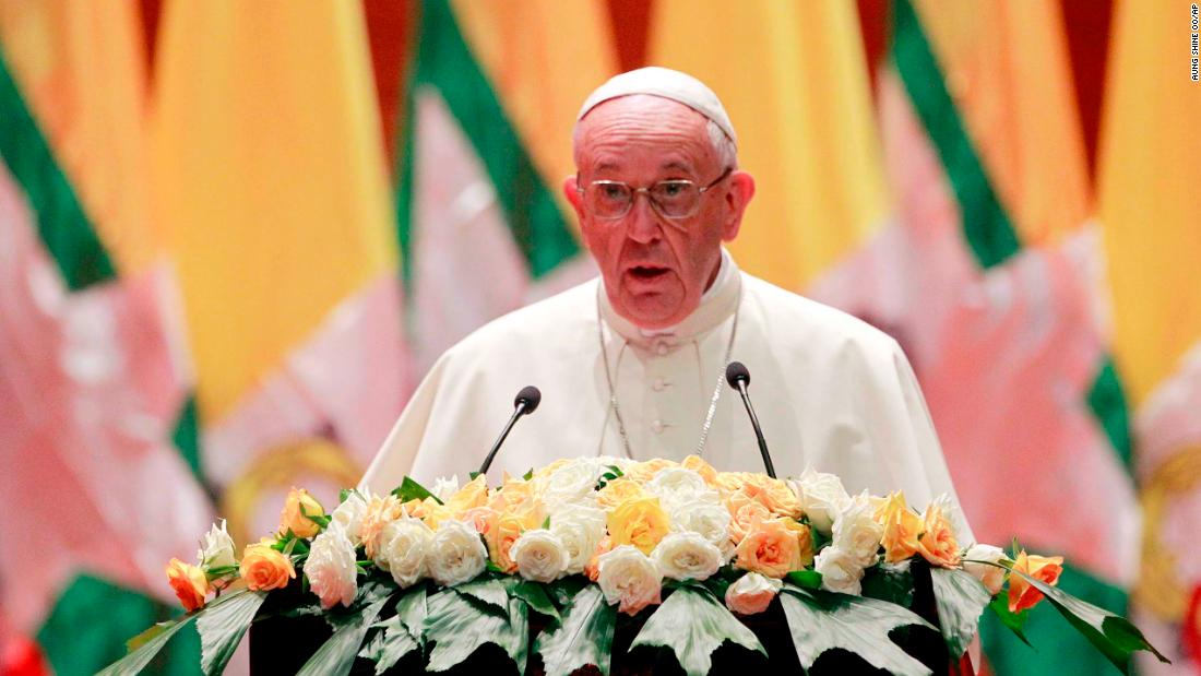 "The Pope <a href=""http://us.cnn.com/2017/11/28/asia/pope-speech-rohingya-myanmar/index.html"" target=""_blank"">delivers a speech</a> to officials and Catholic devotees at the convention center in Naypyidaw, Myanmar, on November 28. The Pope told those gathered that ""the arduous process of peace-building and national reconciliation can only advance through a commitment to justice and respect for human rights,"" according to a translation provided by the Vatican."