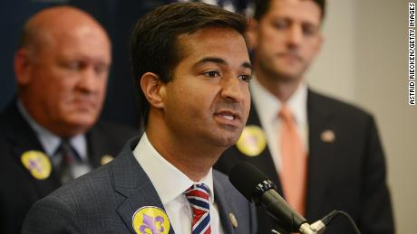 WASHINGTON, DC - JUNE 21: U.S. Rep. Carlos Curbelo (R-FL), flanked by U.S. Rep. Glenn Thompson (R-PA) and U.S. Speaker of the House Rep. Paul Ryan (R-WI), speaks during a press conference on Capitol Hill after their weekly party conference meeting on June 21, 2017 in Washington, DC.