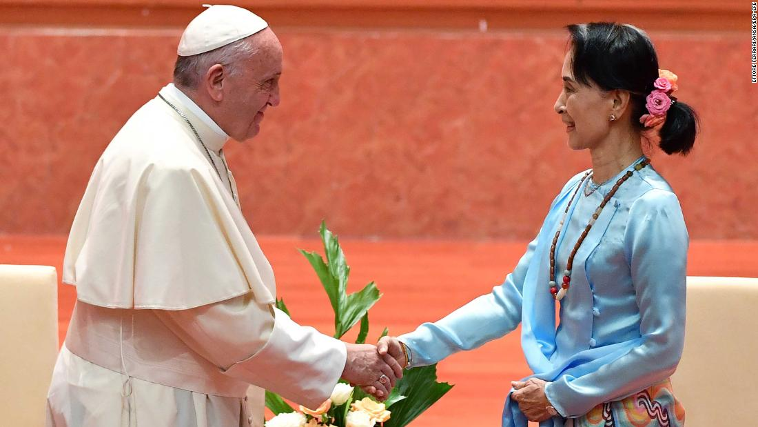 The Pope shakes hands with Myanmar's state counselor and foreign minister, Aung San Suu Kyi, during a meeting on Tuesday, November 28,.