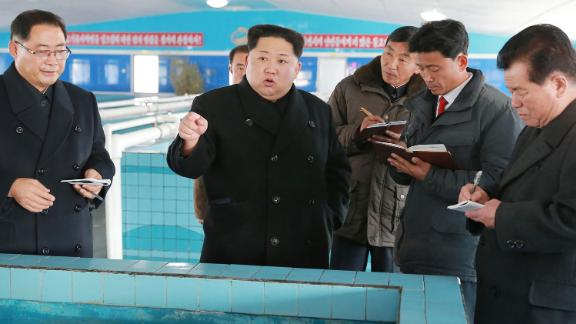 "This undated photo released by North Korea's official Korean Central News Agency (KCNA) on November 28, 2017 shows North Korean leader Kim Jong-Un at the newly built Sunchon Catfish Farm in South Pyongan Province. / AFP PHOTO / KCNA via KNS AND AFP PHOTO / - / South Korea OUT / REPUBLIC OF KOREA OUT   ---EDITORS NOTE--- RESTRICTED TO EDITORIAL USE - MANDATORY CREDIT ""AFP PHOTO/KCNA VIA KNS"" - NO MARKETING NO ADVERTISING CAMPAIGNS - DISTRIBUTED AS A SERVICE TO CLIENTS THIS PICTURE WAS MADE AVAILABLE BY A THIRD PARTY. AFP CAN NOT INDEPENDENTLY VERIFY THE AUTHENTICITY, LOCATION, DATE AND CONTENT OF THIS IMAGE. THIS PHOTO IS DISTRIBUTED EXACTLY AS RECEIVED BY AFP.  /         (Photo credit should read -/AFP/Getty Images)"