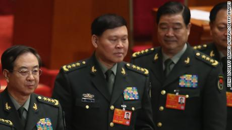 BEIJING, CHINA - MARCH 15:  (L-R) Generals of Chinese People's Liberation Army Chang Wanquan, Fang Fenghui, Zhang Yang, Zhao Keshi and Zhang Youxia line up to cast their votes into a box during the fifth plenary meeting of the National People's Congress at the Great Hall of the People on March 15, 2013 in Beijing, China. Li Keqiang was elected as China's Premier Friday at the 12th National People's Congress, the country's top legislature.  (Photo by Feng Li/Getty Images)