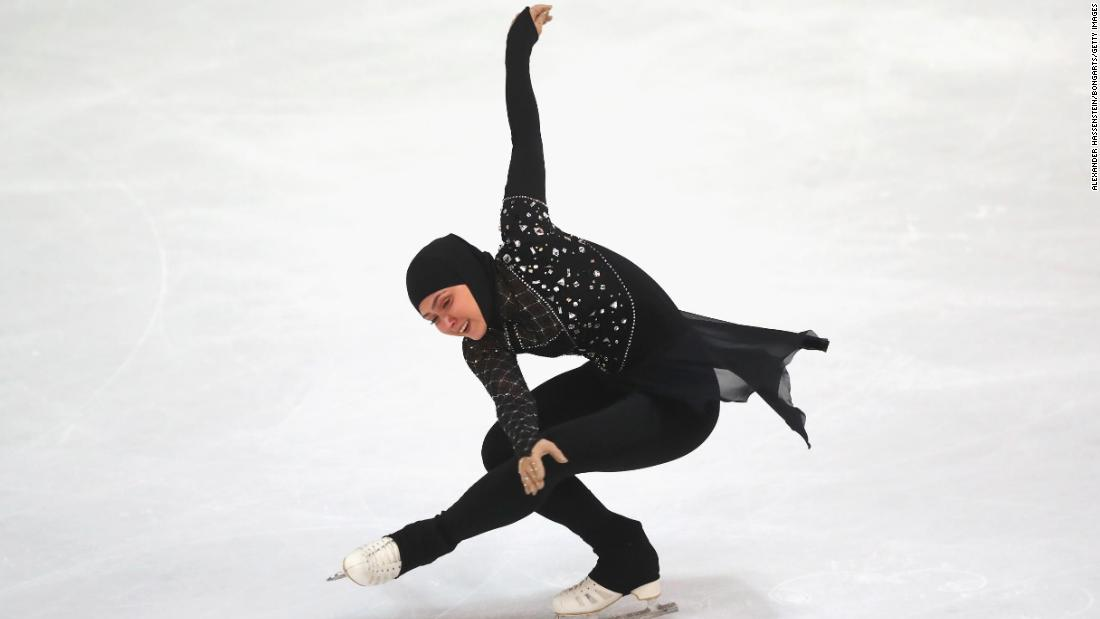 Lari has participated in professional figure skating competitions worldwide, wearing modified versions of the figure-skating outfit -- she replaces see-through fabrics such as Lycra with opaque cloth, covers her toned legs with thick leggings, and wears a matching headscarf.